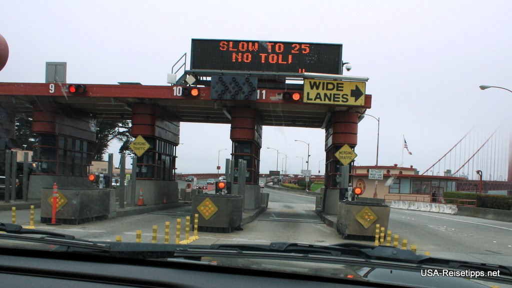 San Francisco Toll an der Golden Gate. Es wird aber nur in Richtung Süden kassiert.