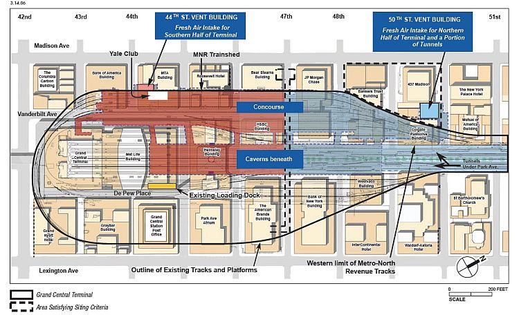 Die Gleisanlagen der Grand Central. Die äußersten Gleise sind verbunden damit Züge umkehren können.
