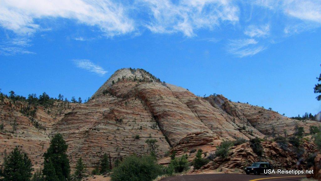 Zion National Park, Utah Die Checkerboard Mesa kurz nach der Einfahrt.