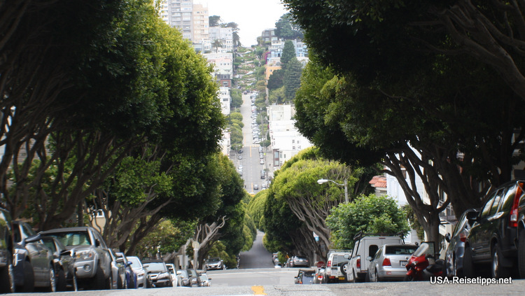 Lombard Street in San Francisco. Blick vom Telegraph Hill aus.